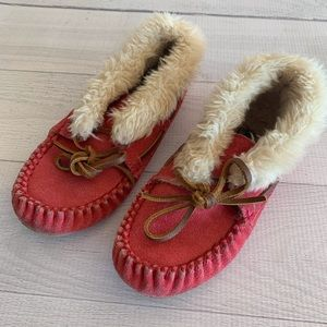 MINNETONKA 12 Girls Pink Suede Leather Moccasins